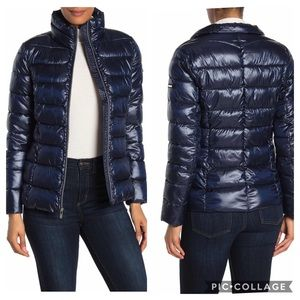 Via Spiga Navy Stand Collar Packable Puffer Jacket